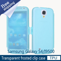 Retail Free shipp  Flip Touch  Transparent Screen  Case TPU Frosted housing 360 comprehensive protection  cover For Galaxy S4