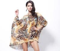2014 Summer Fashion Casual New Women Bohemian Chiffon Blouse Dress Leopard Tiger Striped Floral Print Plus Big Large Size