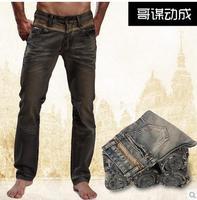 2014 fashion Vintage jeans male straight slim  plus size plus size velvet jeans mens quality designer denim jeans size 28-48