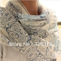 Wholesale 2013 New Winter Chiffon Scarf Scarves Women Blue and White Porcelain Beach Scarf Shawl Wrap S size 170*60cm RJ1920