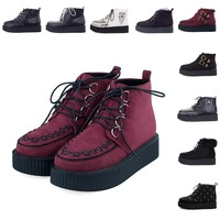 Women's Creepers Platform Ankle Boots Shoes Fashion Knitted Faux Suede Flat Platform Lacing Harajuku Winter Boots Big Size 34-40