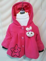 2015 new autumn and winter  children clothes  outerwear child coat baby girl jackets with rabbit on chest kids tops outwear