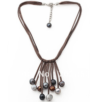 Trendy Style Potato Freshwater Pearl Leather Necklace Free Shipping