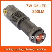 10pcs Mini LED Flashlight Torch Adjustable Focus Zoom 7W 300LM Light Lamp Green Free Shipping 82802