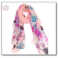 Animal Cute Cat Print Scarf Viscose Shawl 2014 New Winter Scarf
