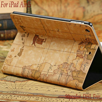 Newest Map Design Smart Leather Case For iPad Air 5 Automatic Sleep/Wake Flip Leather Cover Case  with Stand