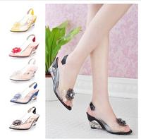 2014 hot sale  transparent woman   crystal  shoes flower wedges sandals    plus big size  34-43