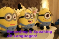 18 cm plush cartoon toy Despicable Me Minions recording & talking toys(12 seconds), hot sale 7'' mini plush stuffed toy for baby