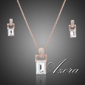 Азора роуз позолоченные Stellux австрийский хрусталь ожерелье и серьги комплект ювелирных изделий TG0056