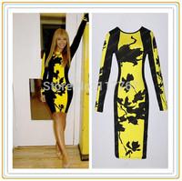 Europe Celebrity Style Women Lady Floral Print Dresses Tunic Yellow Bodycon Black Party Midi Pencil Dress Free Shipping 653263