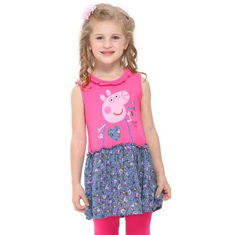 New Arrival Nova Kids Summer Peppa Pig Baby Girls Dress Cotton Tutu Party Character Novelty Fuchsia Dresses Baby Clothes H4393(China (Mainland))