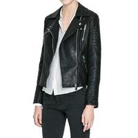 Faux Soft Leather Jackets HOT 2014 New Fashion Autumn Winter Women  Pu Black Blazer Zippers Coat Motorcycle Outerwear pimkie