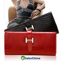 Free shipping gentlewoman wallet fashion ladies wallet PU crocodile pattern women's long design wallet #1015