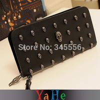 New 2014 Women Wallets Fashion Evening Bag Handbag Coin Purse Casual Punk Skull Card Package Zipper Plaid Bag Key Holders TB1004