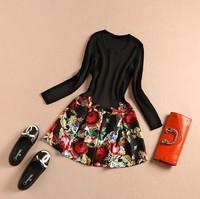 Free Shipping Women Black Sweater Patchwork Print  Long Sleeve Dress Autumn Dress New Style  Dress For Women 's Dress