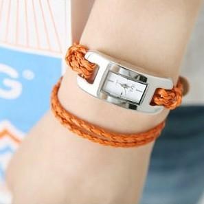 Купить Часы  hot sale  multi-color weaving leather bracelet watch  women dress watches ladies fashion gift bracelet watch wholesale None