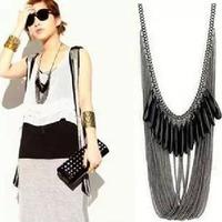 Fashion Necklace For Women Zinc Alloy Multi Layer Necklace Vintage Long NecklaceTassel Acrylic Statement Necklace 2014 New