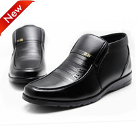Fashion Men's winter outdoor lace-up ankle  warm cow leather western work tooling  boots,Rubbe outsole,black 39-44