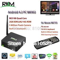 Rikomagic RKM MK902 Quad Core Android 4.4 RK3188 2G DDR3 16G ROM Bluetooth Build in Camera & Microphone [MK902/16G+MK705]