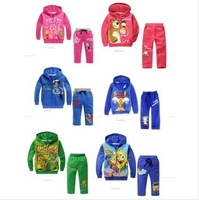 Retail,Hot,free shipping,1size/1lot,Children's set girls boys cartoon clothing,fashion set,hoodies+pants,sets,children clothes