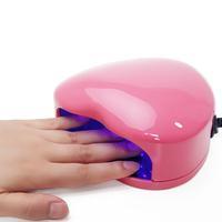 2013 New 220~240V EU Plug 6W LED Uv Lamp Nail Gel Polish Manicure Nail Dryer Mini Portable Heart Shape Free Shipping
