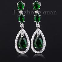 New luxury wedding lady plated 18kt earrings zircon earrings white/purple/blue/black/green/champagne earrings Christmas gift
