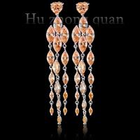 New luxury wedding lady plated 18kt earrings  zircon earrings white/purple//black/red/champagne earrings