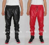 Hip hop mens leather sweatpants faux leather pants men  jogging pants red joggers big  size S 28 to 40