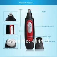 HOT SALE Profession POVOS PR209 Wet/dry Stainless Steel Blades Facial Nose Hair Trimmer Nose Care Black +Red 1 AA Battery