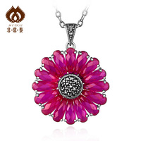 Free shipping Red corundum pendant women's pendant thai silver pendant 925 silver 11  necklaces & pendants