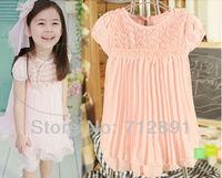 2014 new Summer baby girls dress kids chiffon lace flower princess dress on sale children dress C092 party dress free shipping