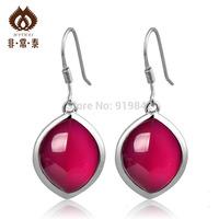 925 pure silver thai silver red corundum ear pendant pure silver bridal  fashion elegant women's