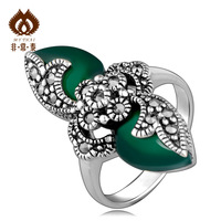 Free shipping Brief fashion flower index finger ring female personality pure silver green agate 925 thai silver ring