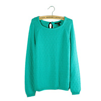 Free Shipping New 2013 Autumn-Summer 100%Cotton Slim Bullover 0-Neck Long-Sleeve Sweater women Knitting Sweaters