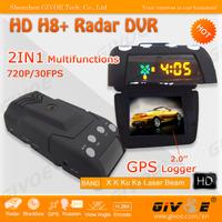 HD Car DVR Radar Detector 720P Model H8+ With 120 Degree Angle + Internal GPS Logger + 20 Inch TFT Display