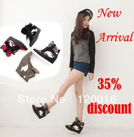 New arrival 2014 women's boots shoes brand fashion elevator ankle boots front strap color block decoration boots