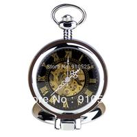 Orkina Black Transparent Roman Numerals Dial Mechanical Tourbillon Mens Stainless Steel Pocket Watch | ORKP0005