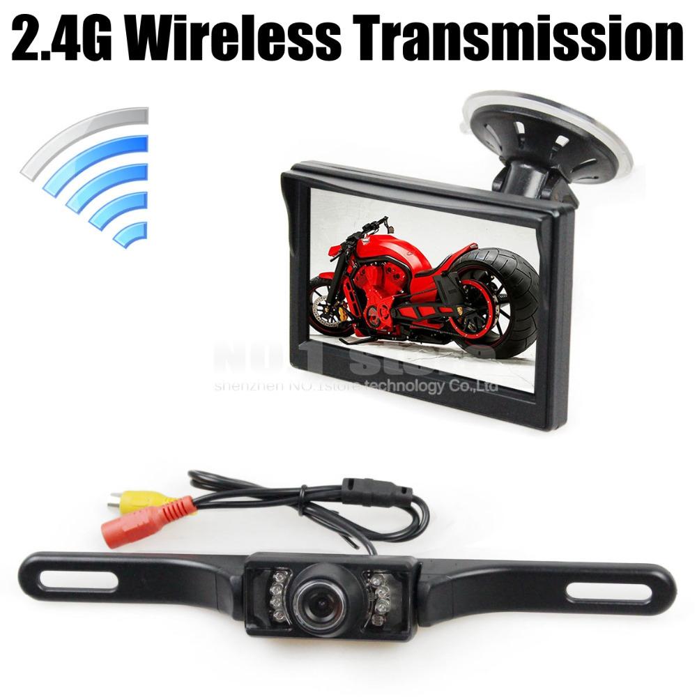 Wireless 5 Inch HD LCD Display Car Monitor IR Night Vision Rear View Car Camera Reversing Safety System Free Shipping(China (Mainland))