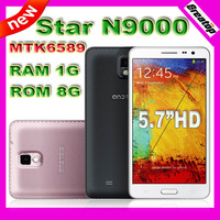 "New star N9000 phone MTK6589 Note 3 Quad core  5.7""IPS smart phone 1GB RAM+8GB Android 4.2+free leather case SG post free"