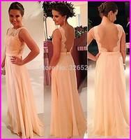 Free shipping vestido de festa longo sheer tulle back sexy evening gown lace applique sleeveless prom dress 2014  BO3384