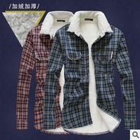 Men's Shirt men lambs wool  winter dress clothes men thick warm plaid long sleeve slim fit casual shirt mens shirts clothing men