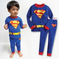 1pc retail 100% cotton clothing set children boys tracksuit thermal underwear