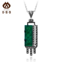 Free shipping Natural green agate pendant Women handmade personalized silver pure silver necklace pendant high quality