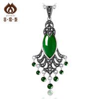Free shipping 925 pure silver jewelry Women jade pendant fashion brief elegant  necklaces & pendants