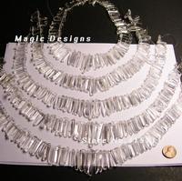 16CFF1064 Quartz crystal points - top drilled - mix size - full strand - polished clear quartz