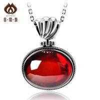 Free shipping 925 pure silver thai silver red corundum jewelry pendant necklace pendant female 11