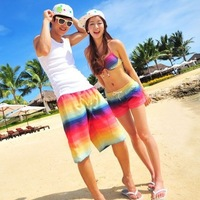 Women Shorts Special Offer 2014 New Beach Shorts For Couples Sport Men's Short Swim Colorful Striped Sweat Free Shipping