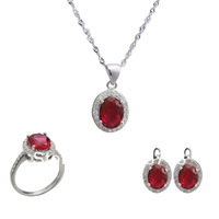 NEW 925 Sterling silver jewelry sets  jewelry suit  plated White Gold  necklace & pendant earrings ring ,bridal jewelry sets