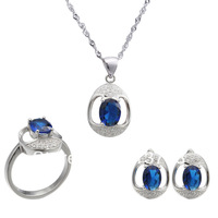 2014 NEW 925 Sterling silver jewelry sets  jewelry suit  plated White Gold  necklace & pendant earrings ring christmas ST74