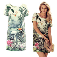 New Fashion Women Chiffon Short Sleeve Vintage Skirt Ladies' Elegant Birds Flower Plant Printed Dresses Casual Mini Dress HE1362